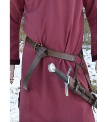 Ceinture d'épée médiévale - cuir marron