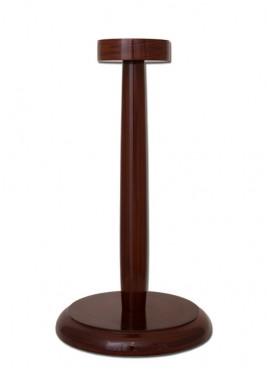 Support porte-casque en bois avec base ronde
