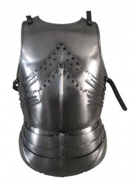 Cuirasse gothique, armure torse en plaques, acier 1,2 mm