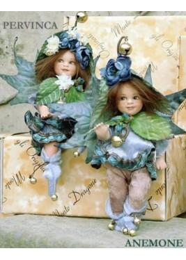 Fées Anémone et Pervenche, Poupées fées en porcelaine de 18 cm