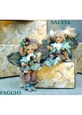 Fée: Hêtre et Sage, Poupée fée en porcelaine de 18 cm
