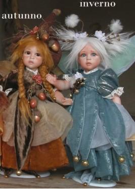 Fées du Temps: Automne et Hiver, Poupées fées en porcelaine de 32 cm