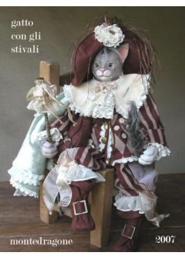 CHAT dans les BOTTES - marionnette en porcelaine