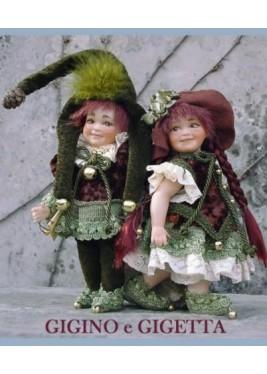 Poupées Elfes Gigino et Gigetta, Poupées Porcelaine Collection, 22 cm