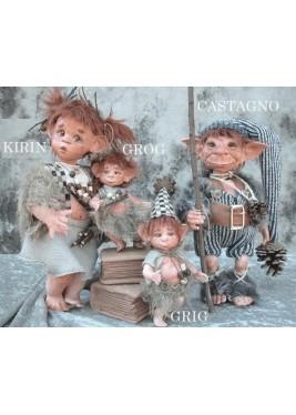 Poupées Elfes Grig et Grog, Poupée Porcelaine Collection