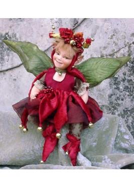 Fée Rose Rouge, Poupée fée en porcelaine de 23/30 cm