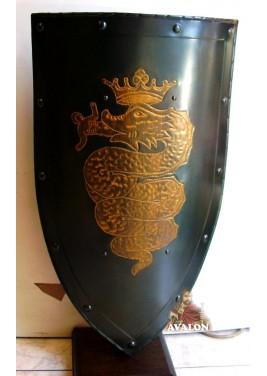 Bouclier médiévale avec le serpent des Visconti