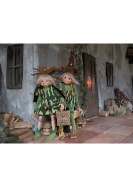 Poupées Elfes Gland et Sureau, Poupées Porcelaine Collection, 43 cm