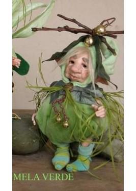 Poupée Elfe Pomme Verte, Poupée Porcelaine Elfe, 24 cm