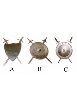 Bouclier médiéval compléter avec deux épées